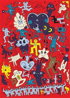 Amor dibujado a mano doodles fiesta
