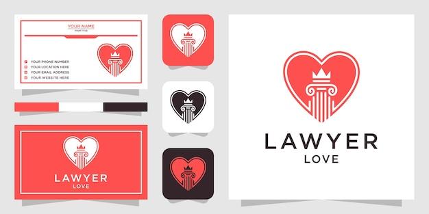 Amor diseño de logotipo de bufete de abogados y tarjeta de visita