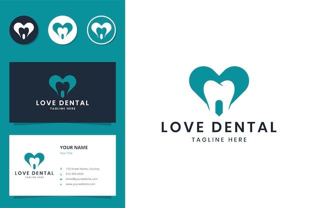Amor diseño de logotipo de espacio negativo dental