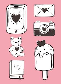 Amor doodle icono conjunto teléfono cámara correo helado oso libro rosa ilustración