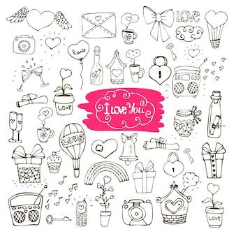 Amor doodle iconos