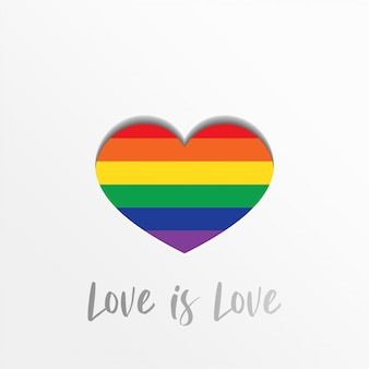 El amor es el amor. orgullo lgbt con corazón colorido en estilo de papel artesanal