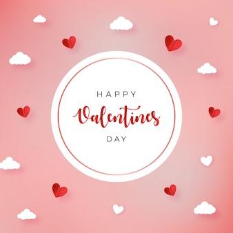 Amor especial del día de san valentín con tarjeta de felicitación de marco de círculo