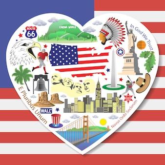 Amor de estados unidos establecer los iconos y símbolos americanos en forma de corazón