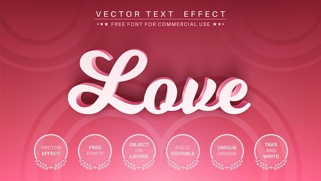 Amor estilo de fuente de efecto de texto editable