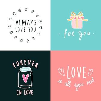 Amor expresiones icono conjunto de vectores