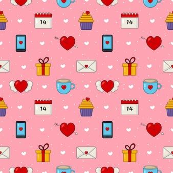 Amor y feliz día de san valentín conjunto de patrones sin fisuras aislado sobre fondo rosa.