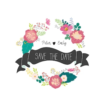 Amor floral de la boda elementos gráficos