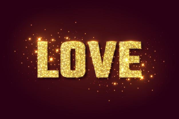 Amor fondo de brillo dorado para el día de san valentín.