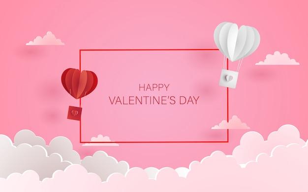 Amor y fondo romántico con forma de corazón. arte de papel