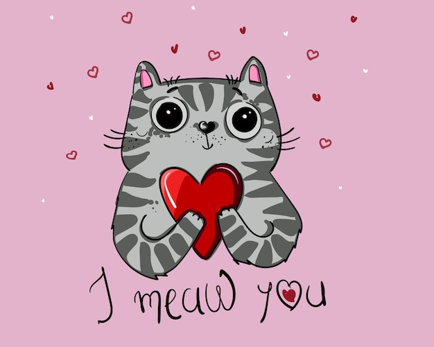 Amor del gato del diseño de carácter del ejemplo del vector con el corazón para el día de san valentín