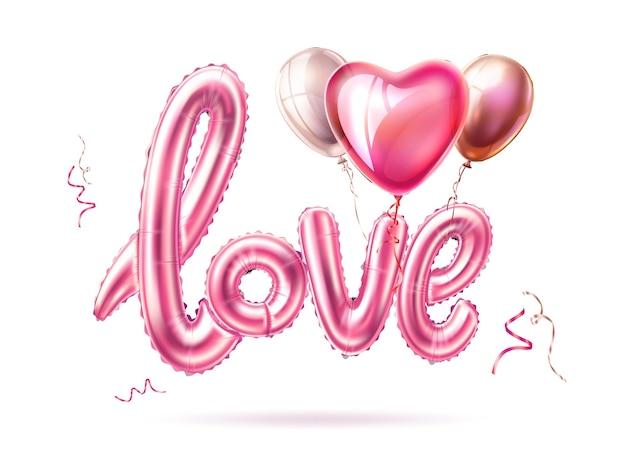 Amor globo de goma realista con globos de corazón