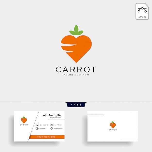 Amor icono de vector de plantilla de logotipo de zanahoria aislado