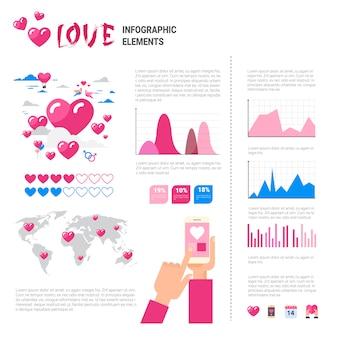 Amor iconos y elementos sobre fondo de plantilla de infografía, concepto de día de san valentín