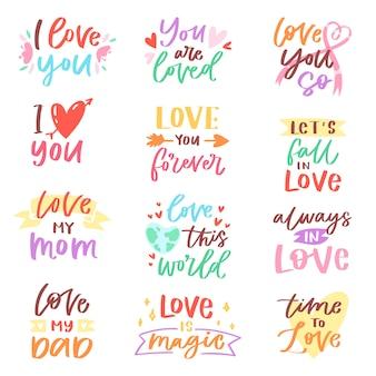Amor lettring caligrafía encantadora signo de amistad adorable a mamá papá amigo iloveyou en el día de san valentín amada tarjeta ilustración conjunto de tipografía de decoración de amor familiar aislada sobre fondo blanco