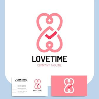 Amor logo corazones tiempo e infinito símbolos valentín relación y medicina