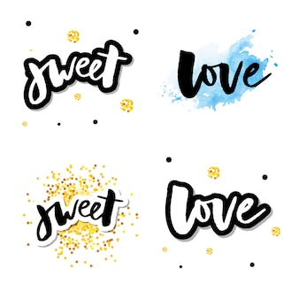 Amor logo vector rotulación lema conjunto de caligrafía