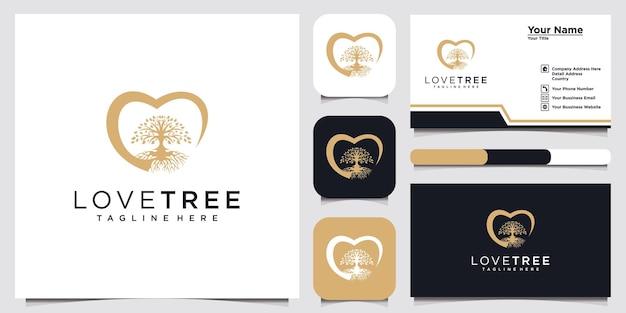 Amor con el logotipo del árbol y la plantilla de diseño de tarjeta de visita
