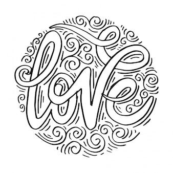 Amor mano letras caligrafía hecha a mano en el fondo del círculo.