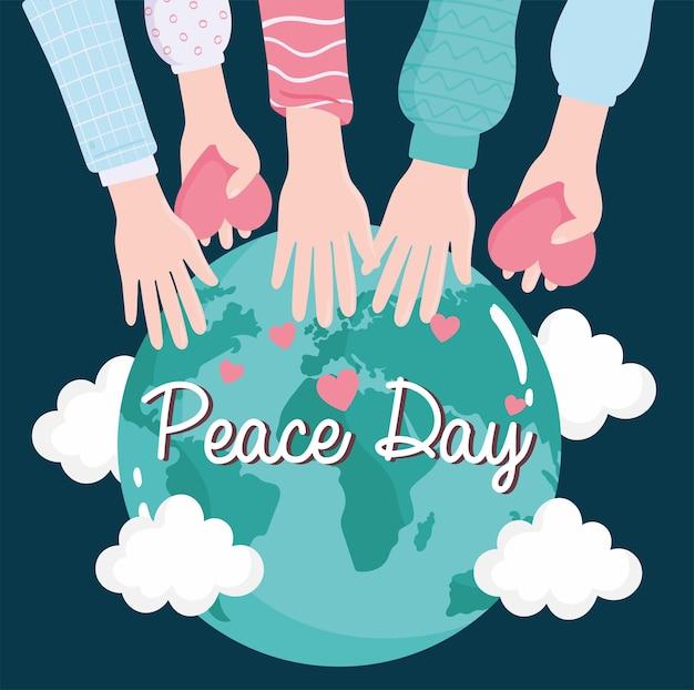 Amor y manos de paz mundial