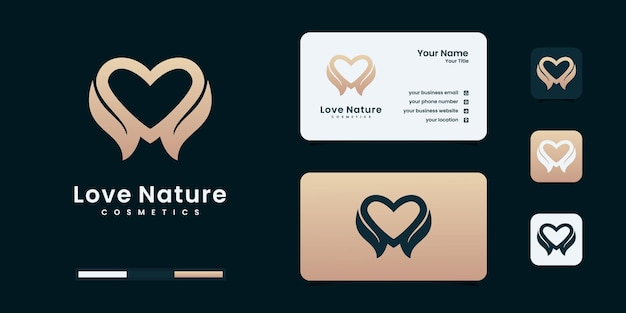 Amor natural o corazón combinar hojas. plantillas de diseño de logotipo de naturaleza.