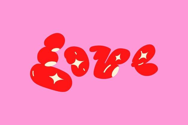 Amor palabra de tipografía de doodle negrita