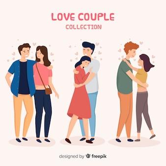 Amor pareja abrazándose colección de personas