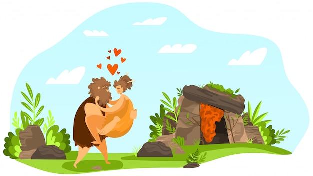 Amor pareja antigua, relación primitiva, personaje prehistórico masculino llevado a mano femenino, corazón, hoja, ilustración plana.