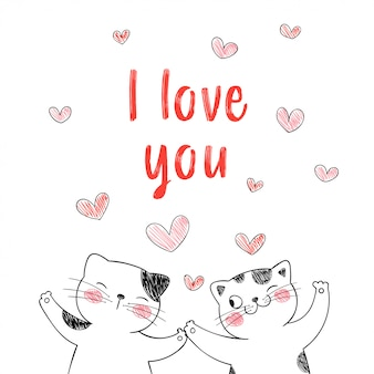 Amor pareja de gatos con corazones