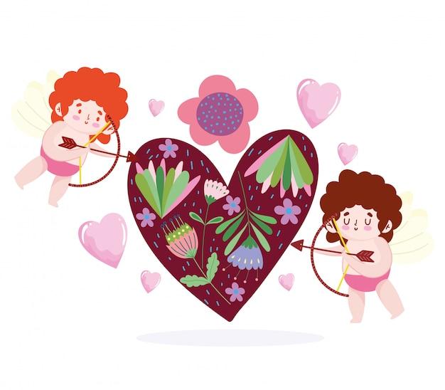 Amor pequeños cupidos disparando flecha corazón flores dibujos animados románticos
