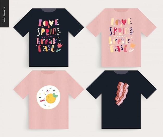Amor, primavera, desayuno. composición de letras, diseño de camiseta.