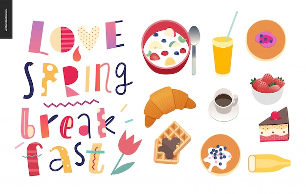 Amor, primavera, desayuno. composición de letras.