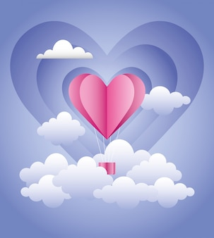Amor romántico globo aerostático en nubes creativo diseño vector imagen digital imagen