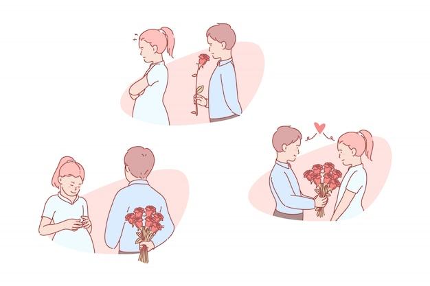 Amor, romantico, relacion, invitacion, conjunto