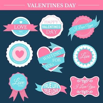 Amor romántico set plantilla de etiqueta retro del elemento emblema para su producto o diseño
