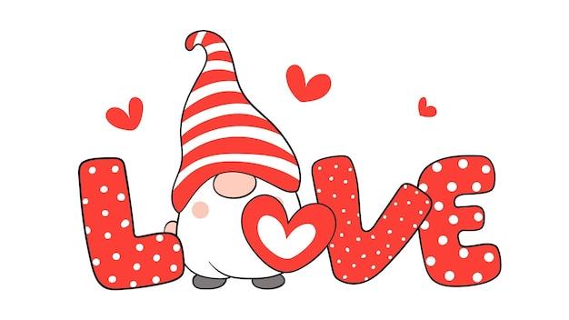 Amor texto con gnomos y corazón rojo para el día de san valentín.