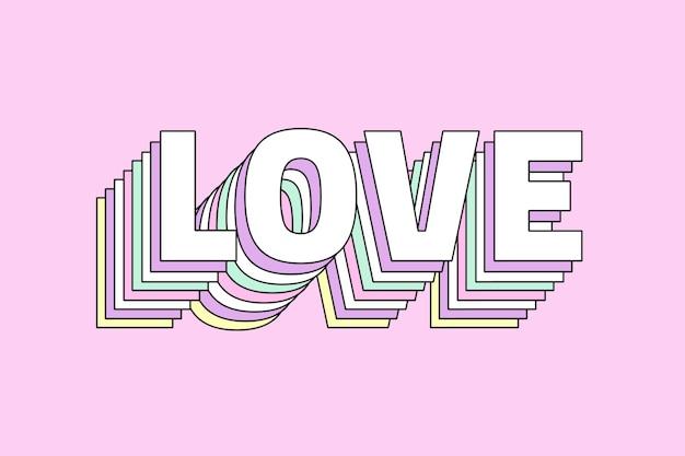 Amor tipografía retro multicapa