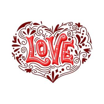 Amor tipografía vector ornamento