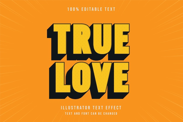 Amor verdadero, efecto de texto editable 3d estilo cómico negro amarillo