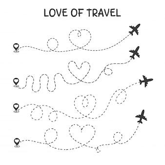 Amor para viajar la ruta de viaje en avión es el corazón de un amante romántico.