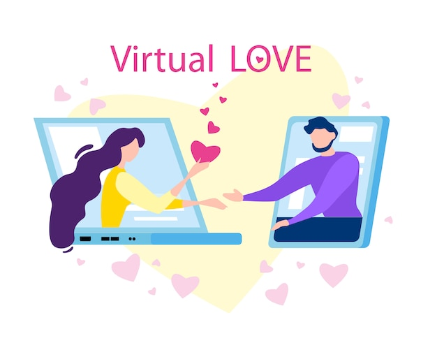 Amor virtual de dibujos animados hombre mujer en pantalla de computadora
