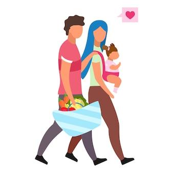 Amorosa familia con ilustración plana infantil