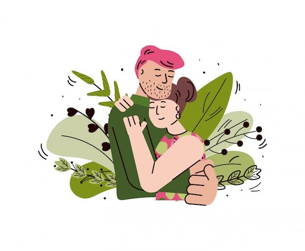 Amorosa pareja abrazándose y abrazándose, ilustración de dibujos animados