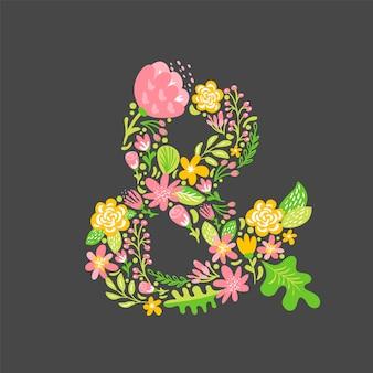 Ampersand floral de verano. alfabeto capital de la boda de la flor