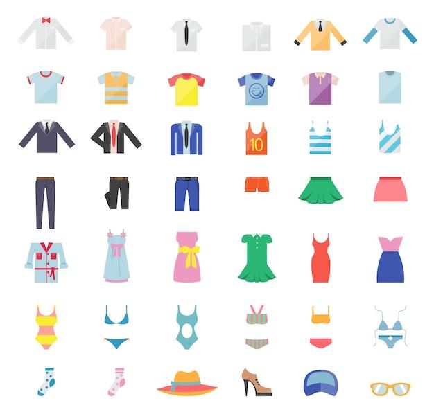 Amplio conjunto de ropa para hombre y mujer. iconos de moda. ilustración vectorial