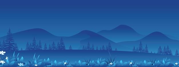 Amplio panorama horizontal del paisaje nocturno