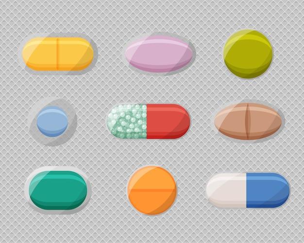 Ampollas de píldoras realistas con tabletas y cápsulas.
