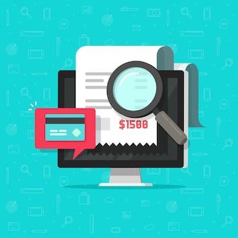 Análisis de auditoría de pago en línea o investigación de facturas de pago en dibujos animados planos de computadora