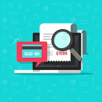 Análisis de auditoría de pagos en línea o investigación de facturas de pago en dibujos animados planos de ilustración de computadora portátil