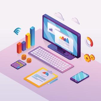 Análisis de datos comerciales y analíticos financieros en pantalla